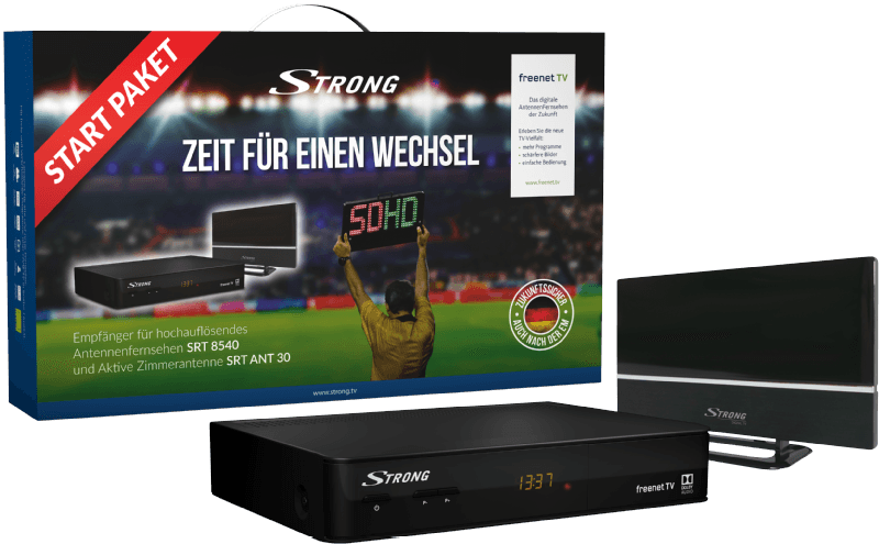 STRONG SRT 8540 + ANT 30 DVB-T2 Receiver, Schwarz