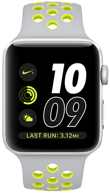 APPLE Watch Series 2 42 mm Nike+, Aluminium, Sportband, Silber/Silber/Gelb (Smart Watch)