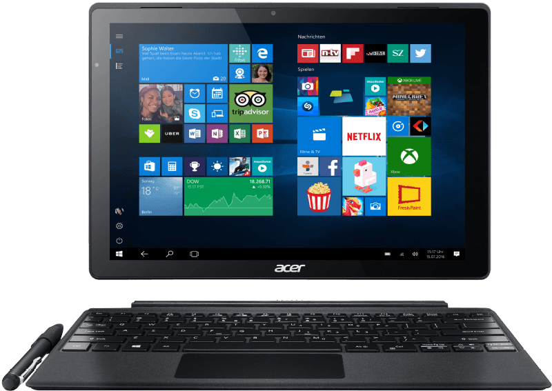 ACER ACER Switch Alpha 12 (SA5-271-FIT), Convertible mit 12 Zoll, 256 GB Speicher, 4 GB RAM, Core i5 Prozessor, Windows 10 Home (64 Bit), Silber