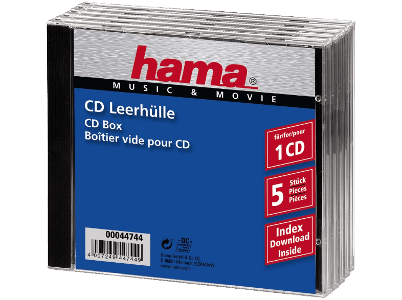 HAMA 44744 Standard CD Jewel Case, pack of 5, Transparent/Black cd  dvd  blu ray