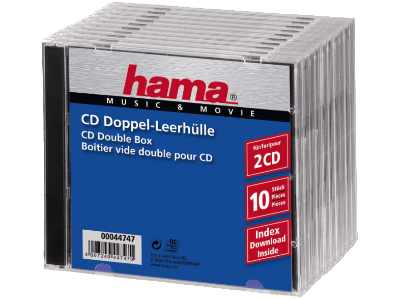HAMA 44747 Standard CD Double Jewel Case, pack of 10, Transparent/Black cd  dvd  blu ray