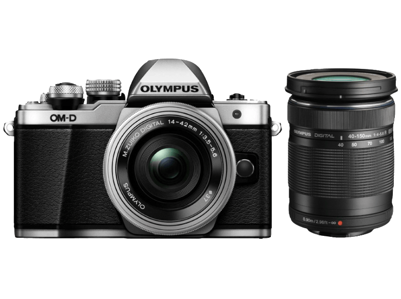 OLYMPUS E-M10 Mark II Double Kit EZ-M 14-42mm EZ+40-150mm R Silver - (V207053SE0