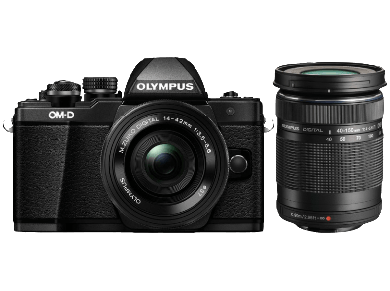 OLYMPUS E-M10 Mark II Double Kit EZ-M 14-42mm EZ+40-150mm R Black - (V207053BE00 mirrorless cameras