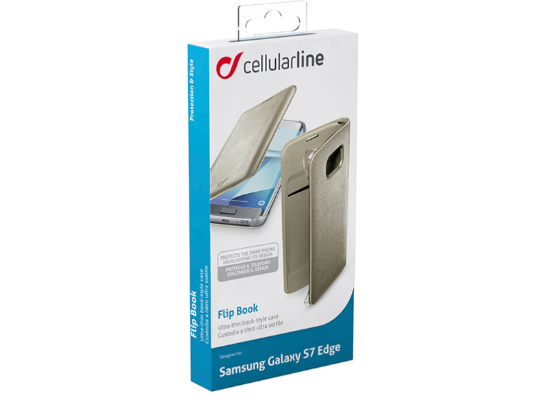 CELLULAR LINE Flip Book Case Galaxy S7 Edge Gold - (BACKBOOKGALS7EH) θήκες  μεμβράνες samsung