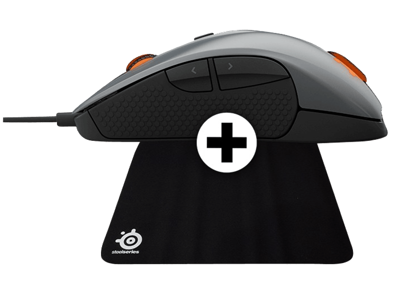 STEELSERIES RIVAL 300 Silver - (DCA.P/C.06087) + Mousepad QCK gaming mousepads