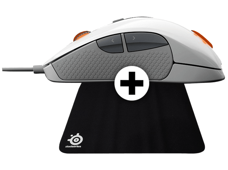 STEELSERIES RIVAL 300 White - (DCA.P/C.06089) + Mousepad QCK gaming ποντίκια