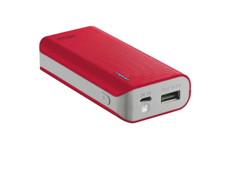 TRUST PRIMO POWERBANK 4400 PORTABLE CHARGER - RED - (21226) powerbanks