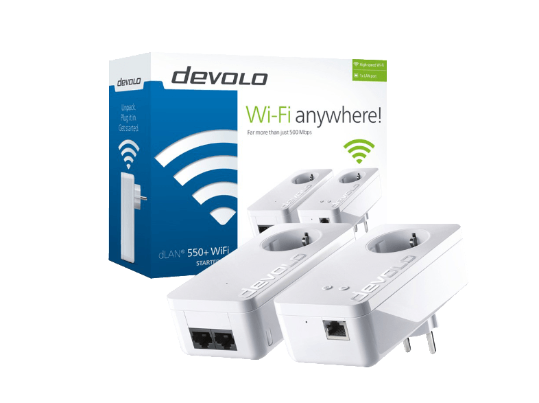 DEVOLO dLAN 550+ WiFi Starter Kit Powerline - (9840) access point  router  range extender  switch
