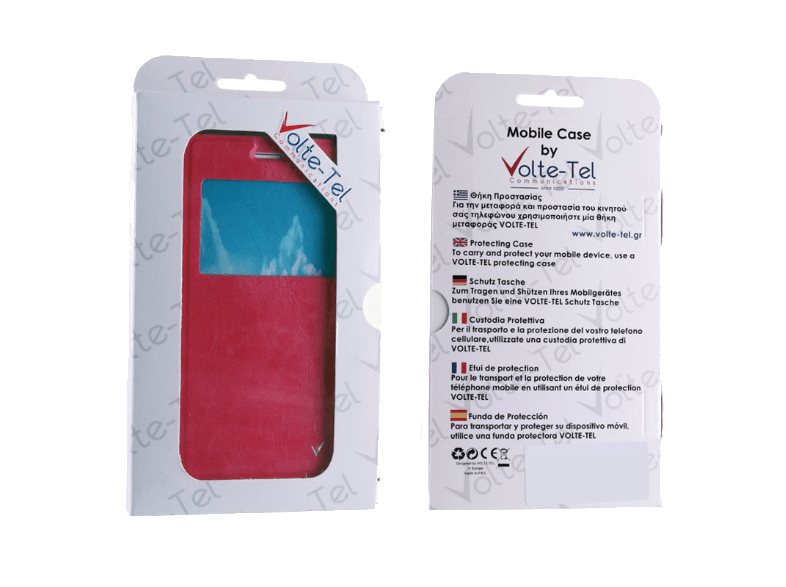 VOLTE-TEL Θήκη Samsung Galaxy J1 2016 J120 Leather-TPU View Book Pink - (5205308 θήκες  μεμβράνες samsung