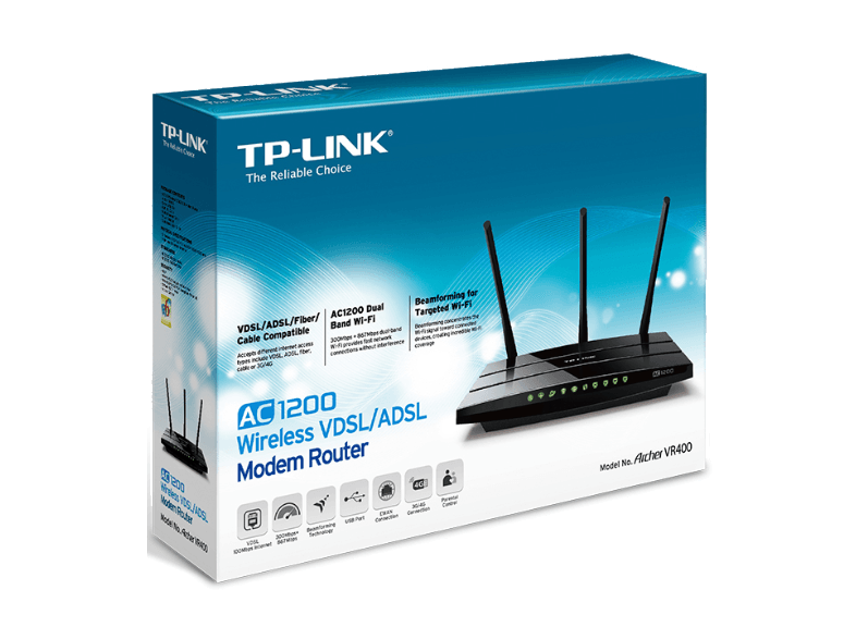TP LINK AC1200 Wireless VDSL/ADSL Modem Router - (Archer VR400) access point  router  range extender  switch