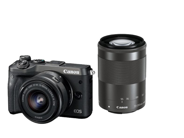 CANON EOS M6 με φακό 15-45mm + 55-200mm Black mirrorless cameras