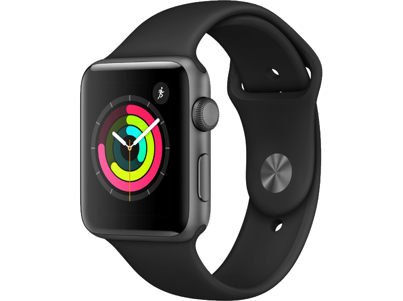 APPLE Watch Series 3 38mm Space Grey με μαύρο sport band smartwatches