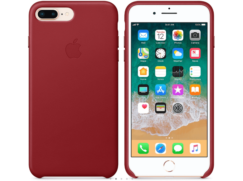 APPLE Θήκη iPhone 8 Plus / 7 Plus Leather Red θήκες iphone