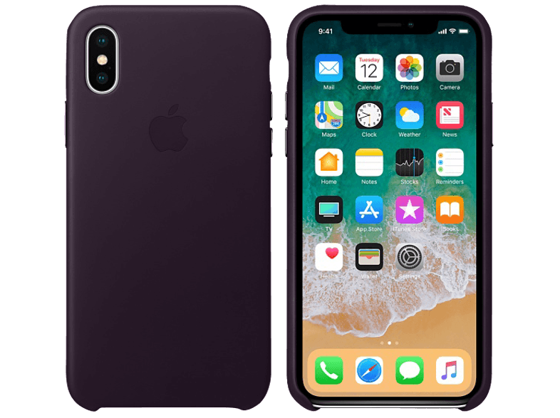 APPLE Θήκη iPhone X Leather Dark Aubergine