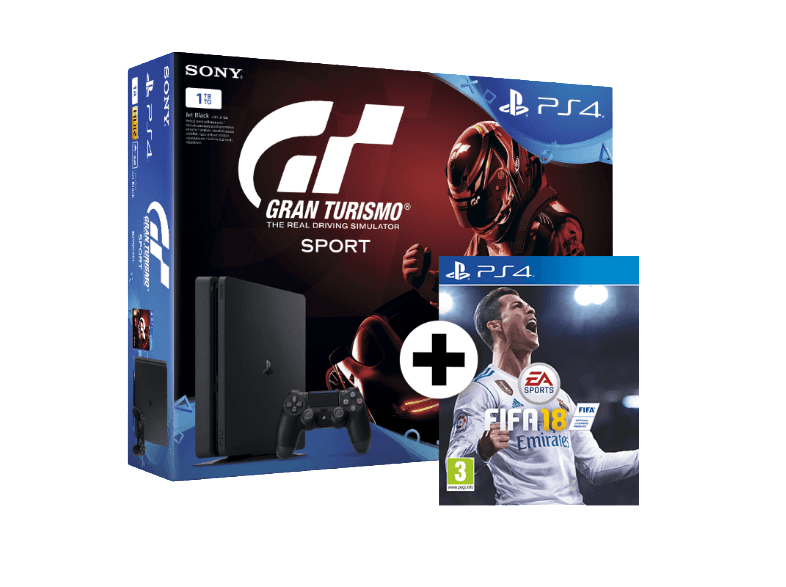 SONY SET PS4 1TB E Chassis Black and GT Sport and FIFA 18 κονσόλες ps4
