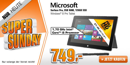 Saturn Super Sunday-heute z.B. Microsoft Surface Pro