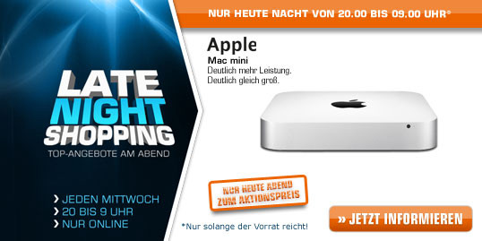 Saturn Late Night Shopping Deals (u.a. APPLE Mac mini ...uvm.)