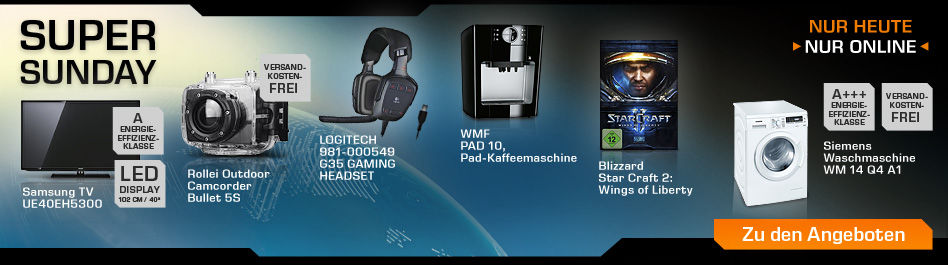 Saturn Super Sunday-heute z.B. Samsung TV, Logitech Gaming Headset, WMF Kaffemaschine