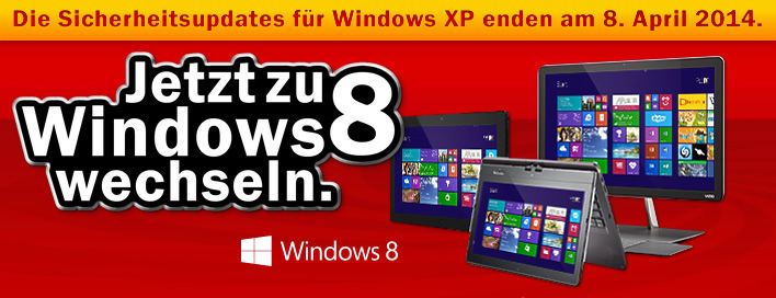 Windows8 Notebooks PCs Tablets, wechseln zu Windows8, Windows XP endet, XP 8. April ende jetzt kaufen bei Media Markt