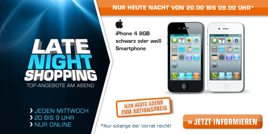 Saturn Late Night Shopping Angebote in der Übersicht u.a. iPhone 4, PS3 Super Slim, ASUS Nexus 7