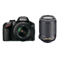 NIKON D3200 Body + 18-55mm VR + 55-200mm VR DSLR-Kameras