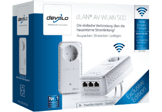 devolo dlan av wlan 500 powerline dlan ethernet adapter media markt. Black Bedroom Furniture Sets. Home Design Ideas