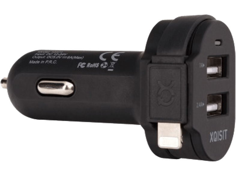 Dual Car Charger 6A lightning / USB Zwart
