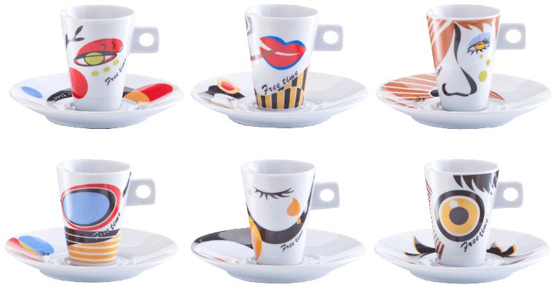 ZELLER 26505, Espresso-Set, 12-tlg., Faces, Porzellan